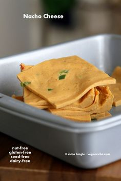 This Nut Free Vegan Nacho Cheese is simple, makes wonderful slices and does not use any agar to set. Chickpea Cheese! Find the secret ingredient.