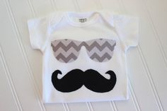 Mustache Onesie - Sunglasses Onesie - Baby Boy Clothing - Boy Onesie - Boy Bodysuit on Etsy, $12.00