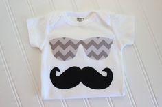 Mustache Onesie - Sunglasses Onesie - Baby Boy Clothing - Boy Onesie - Boy Bodysuit on Etsy, $12.00