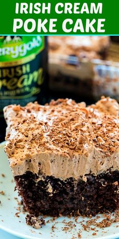 Irish Cream Poke Cake Irish Cream Poke Cake is a delicously moist poke cake soaked with Irish Cream and topped with an Irish Cream-flavored chocolate whipped cream. It's a wonderful dessert to celebrate St. Irish Desserts, Potluck Desserts, Irish Recipes, Just Desserts, Delicious Desserts, Dessert Recipes, Appetizer Dessert, Asian Desserts, Poke Cake Recipes