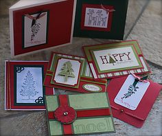 handmade christmas card ideas | the traditional red and green above, and the more elegant cream and ...