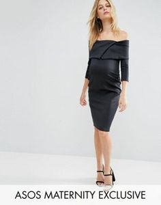 ASOS Maternity Origami Pleated Bardot Dress in Scuba