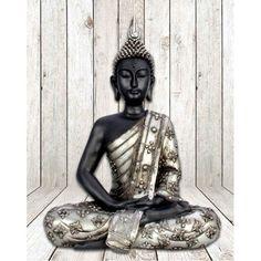 Mediterende Thaise Boeddha zwart - zilver 30 cm