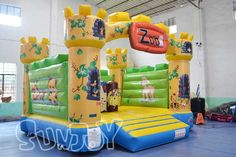 The zoo animal theme inflatable bounce house castle for kids for sale at sunjoy.