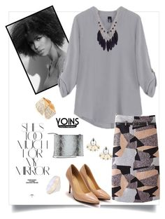"""Yoins Gray Blouse with Adjustable Sleeves"" by cirlylocks ❤ liked on Polyvore featuring Rika and yoins"