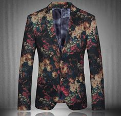 2015 New Arrival Floral Blazer Men Luxury Men Slim Fit Suit Terno Masculino Costume Business Vintage Homme Blazer Masculino Blazer Fashion, Suit Fashion, Mens Fashion, Style Masculin, Floral Blazer, Inspiration Mode, Floral Fashion, Business Dresses, Dress Suits