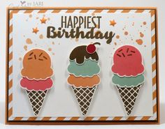 Cool Treats Step It Up! Birthday by Jari - Cards and Paper Crafts at Splitcoaststampers Kids Birthday Cards, Handmade Birthday Cards, Greeting Cards Handmade, Birthday Wishes, Stamping Up Cards, Cool Cards, Kids Cards, Creative Cards, Patch