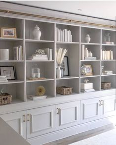 Fabulous Built-In Shelves Home Library Design, Home Office Design, Home Office Decor, Built In Shelves Living Room, Bookshelves Built In, Bookcases, Built In Wall Units, Bookcase Wall Unit, Bookcase White