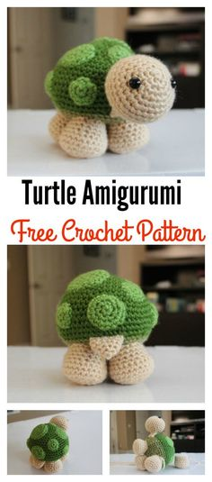 Crochet Amigurumi Patterns Crochet Turtle Toy Amigurumi Free Pattern - The sweet crochet turtles will be the perfect friends for your kids. You can make them for your kids with these Crochet Turtle Amigurumi Free Patterns. Easy Crochet Projects, Crochet Crafts, Crochet Ideas, Crochet Patterns Amigurumi, Crochet Dolls, Amigurumi Toys, Cute Crochet, Crochet Baby, Articles Pour Enfants