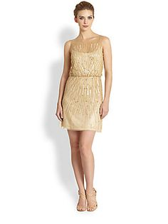 Aidan Mattox Starburst Sequined Chiffon Dress