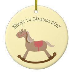 #Cartoon Rocking Horse Ceramic Ornament - #Xmas #ChristmasEve Christmas Eve #Christmas #merry #xmas #family #kids #gifts #holidays #Santa