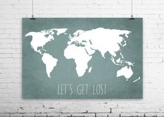 Travel Quote World Map Art Print Poster - Let's Get Lost - Travel Decor - Blue Grunge Textured Linen Cloth Background - 006