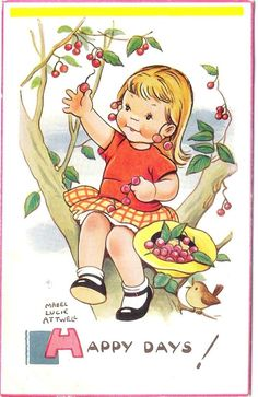 When I was a little blonde girl with bangs, picking cherries from Gramma's tree. Drawing by Mabel Lucie Attwell
