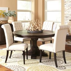 French Baroque Designed Round Dining Set with Rolled Back Button Tufted Chairs (1 Table, 4 Side Chairs, 2 Arm Accent Chairs), Black, Size 7-Piece Sets
