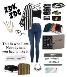 """""""Untitled #143"""" by pan-slytherin-unicorn-materialki on Polyvore featuring Topshop, WithChic, Puma, Luis Morais, Hot Topic, Monkey Business, Ray-Ban and Gray Malin"""