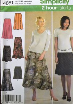 Sewing Pattern Simplicity 4881 Misses' 2 Hour Skirts in size 14-20, Waist 28-34 inches UNCUT Complete by GoofingOffSewing on Etsy