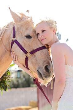 Rustic Ranch Western Weddings - Bride and her horse | Manstrom Photography |  www.MadamPaloozaEmporium.com www.facebook.com/MadamPalooza