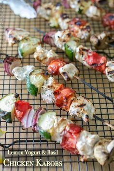 Boneless chicken marinated in Greek yogurt, fresh basil and lemon juice, skewered with fresh garden vegetables; then grilled to perfection. Low Carb Recipes, Beef Recipes, Cooking Recipes, Turkey Recipes, Dinner Recipes, Kabob Recipes, Grill Recipes, Kitchen Recipes, Dinner Ideas