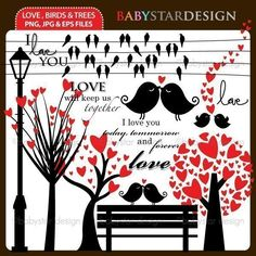 Love, Birds and Trees Clipart   Mygrafico   Mygrafico