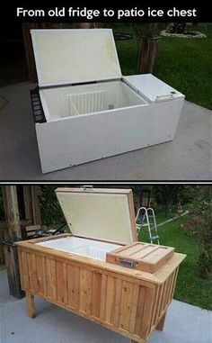 Convert an old fridge to patio ice chest