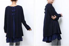 Cardigans surdimensionné de chandails lâches de robe deux pièces de le chandail bleu féminin enveloppement pulls pull cardigan tricoté