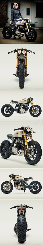 Magnifique custom pour l'actrice Katee Sackhoff Je vous présente cette superbe moto customisée par Classified Moto sur la base d'une Honda XL600R enduro de
