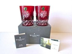 2 NEW IN BOX Waterford Ruby Red Snow Crystals Double Old Fashioned Glass/Tumbler