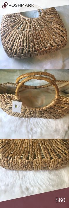 Straw Studios Woven Tote New  .. circular bamboo handles add to the earthy aesthetic of a woven straw tote.. Straw Studios Bags Totes