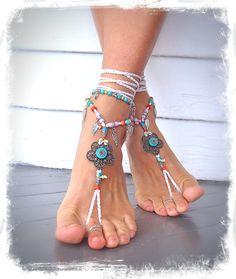 WHITE barefoot Wedding Hippie FLOWER BAREFOOT sandals by GPyoga