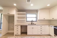 White cabinets. Quartz counter tops. Dark copper hardware. Natural lighting. So much yes! #wearejarrellsignature #kitchenremodel #newhome #inspo #homeinspo #trends #trendyhomes #trendykitchens #dfw