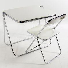 "Castelli ""Plia"" Folding Desk and Chair For Sale 4 Folding Walls, Folding Desk, Vintage Furniture, Modern Furniture, Furniture Design, Stainless Steel Furniture, Mid Century Desk, Aluminum Table, Modern Desk"