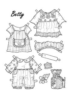 Karen`s Paper Dolls: Betty 1-2 Paper Doll Big to Colour. Betty 1-2 påklædningsdukke stor til at farvelægge.