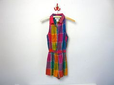 Vintage 80s colorful plaid romper by dirtybirdiesvintage on Etsy, $30.00