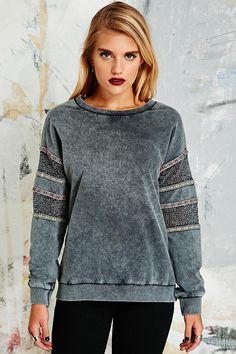 Staring at Stars Crochet Pop Trim Sweatshirt