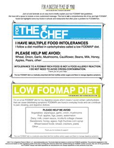 grab and go passes for the chef kate scarlata - simple card explaining food allergies/restrictions High Fodmap Foods, Low Glycemic Diet, Ibs Fodmap, Small Intestine Bacterial Overgrowth, Key Food, Fiber Diet, Food Intolerance, Fodmap Recipes, Food Allergies