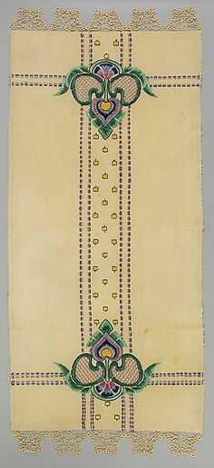 Arts and Crafts Movement linen runner with silk embroidery, Josephine Cooper, 23-1/4 x 54 in.  |  Metropolitan Museum of Art