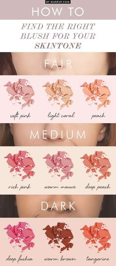 Blush for Your Skin Tone Using blush to highlight your cheeks gives your face a healthy glow and a bright cheerful look no matter what your mood.