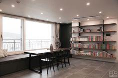 Relax, Home Office Decor, Bookshelves, Dining Bench, New Homes, Room Decor, House Design, Living Room, Interior Design