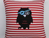 Kids cushion cover: Pirate owl green, kids room decor. $35.00, via Etsy.