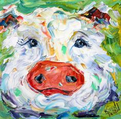 Original oil painting Pig Portrait Palette knife by Karensfineart