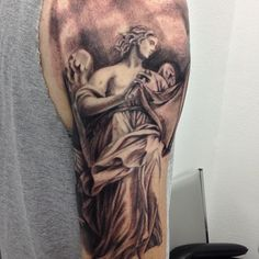 Black and Grey Angle Half Sleeve Tattoo for Men