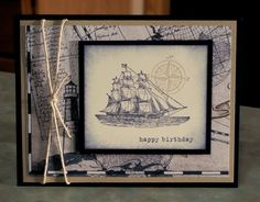 Masculine Birthday Card or Fathers Day Card, using Stampin Up The Open Sea - Free Shipping to US via Etsy