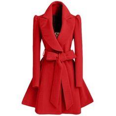 Rotita Red Turndown Collar Belt Design Coat