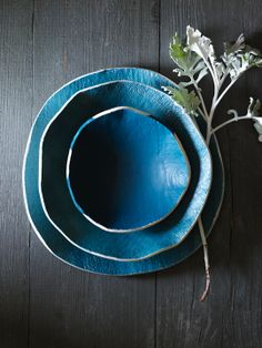 Turquoise plates - with uneven edges. Free form