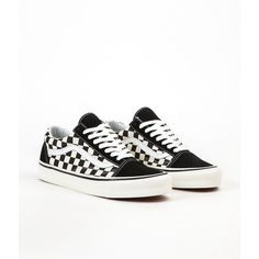 Vans Old Skool 36 DX Anaheim Factory Shoes Black Check ❤ liked on Polyvore featuring shoes, vans shoes, checkered shoes, vans footwear, kohl shoes and checkerboard shoes