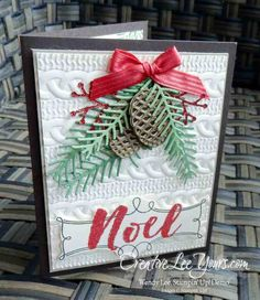 Stampin Up, Christmas Pines stamp set, Pretty pines thinlits, cable knit embossing folder,#creativeleeyours, October 2016 FMN class, hand stamped christmas cards