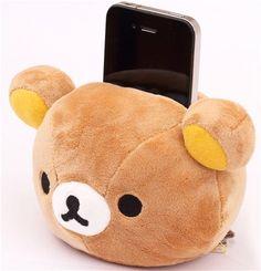 kawaii Rilakkuma plush cellphone holder brown bear