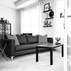 See this Instagram photo by @grayglow • Scandinavian decor | Nordic inspiration | Black and white | Monochrome | Minimalism | Minimalist decor | Home decor | Ikea | Living room | Shelves | Shelf decor | Shelfie