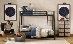 The Best Design of Boys Room Idea for Modern Home: Cool Nice Adorable Wonderful Creative Boy Room Idea With Loft Bed Design Black Frame Metal Made Design With Nice White Rug Decor ~ fsupgm.com Kids bedroom Inspiration