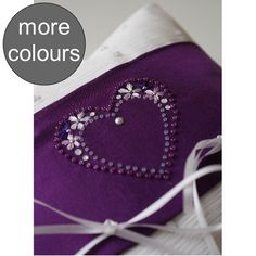 Personalised Purple Beaded Heart Wedding Ring Cushion. £39.99